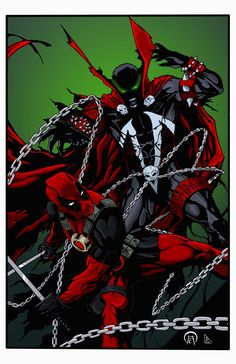 #Deadpool #Fan #Art. (Spawn vs Deadpool) Color by: BDixonarts. (THE * 5 * STÅR * ÅWARD * OF: * AW YEAH, IT'S MAJOR ÅWESOMENESS!!!™)<©>