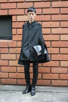 Tokyo street fashion.  Deatheater Chic by Junya Watanabe, Ann Demeulemeester, Helmut Lang, Dior Homme, Patrick Stephan