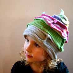 Fun thing to make with old sweaters...Rather make my own, though, and be cheap! upcycled wool slouchy childrens hat in pink green by JoyfulCoyote, $48.00