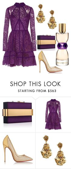 """Purple dress"" by lachasseauxpapillons ❤ liked on Polyvore featuring Rauwolf, Elie Saab, Christian Louboutin, Dolce&Gabbana, Yves Saint Laurent, gold, purple, BOXCLUTCH and lacedress"