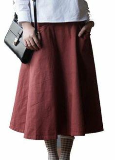 Skirt Arc Segmentation Dress Cotton All-match Swing Pocket Pure Pleated Skirt