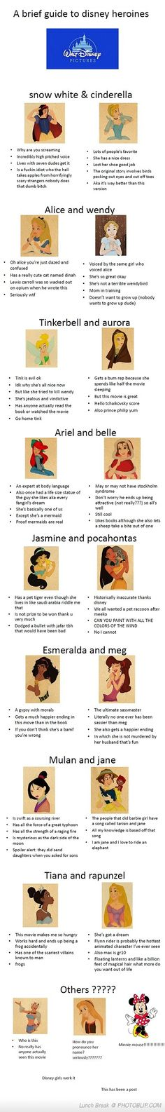 A Brief Guide To Disney Heroines... If only everything in life was this funny.