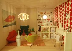 The interior of Spook House with Arne Jacobsen furniture by pubdoll, via Flickr