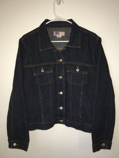 Womens OLD NAVY Blue Jeans Denim Jacket Coat Cotton Extra Large XL Dark Button #OldNavy #JeanJacket