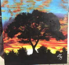 African silhouette tree