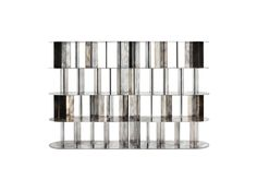 Ceccotti Collezioni.  Modern shelving room divider in  steel and antique nickel silver finish.
