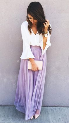 A maxi skirt and a bell sleeve shirt make for a girly spring outfit. #ontrend