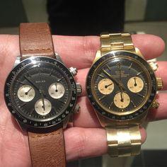 Steel or Gold?? 6240 solo meets 6263 Gold  #rolex #rarerolex #rolexpassion #rolexvintage #vintagewatch #vintagerolex #daytona #vintagedaytona #rolexsolo #solorolex #golddaytona #6240 #6263 #paulnewman #submariner #bigcrown #seadweller #drsd #tropicaldial #comex #milsub #milgauss by silas815