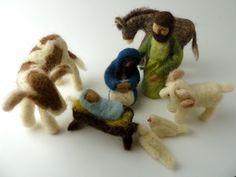 Friendly Beasts Nativity Set, Felted Nativity