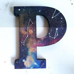 Idea for letter decoration. Idea for letter decoration. Galaxy Room, Galaxy Art, Galaxy Nursery, Space Themed Nursery, Nursery Themes, Painted Letters, Wooden Letters, Outer Space Bedroom, Galaxy Crafts