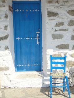 Skiathos Tsougrias Island, Greece #door #blue #greece