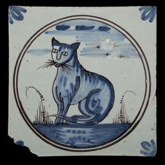 Earthenware tile with blue camaïeu decoration of a cat - century Tiny Stories, Delft Tiles, Mama Cat, Antique Tiles, Lots Of Cats, Handmade Tiles, Pooh Bear, White Tiles, Terra Cotta