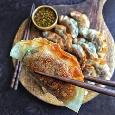 Miso roasted eggplant gyoza. Crispy mouthfuls of goodness. The recipe is now on the blog. Link in the bio. #meatlessmonday