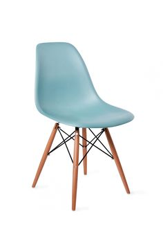 """lovely light blue Eames inspired chairs that would go well with new dining room table. They have other base leg options. $89 each. base dimensions: 18.5"""" wide x 22"""" deep x 31.75"""" high. Seat dimensions = 16.25"""" high x 16.25"""" high. Recyclable polypropylene shell & wooden legs. Rubber shocks on legs."""