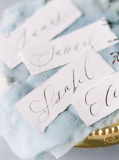 Calligraphy name cards: http://www.stylemepretty.com/2017/03/27/modern-warehouse-wedding-ideas/ Photography: Kristine Herman - http://www.kristineherman.com/