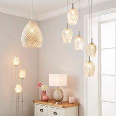 Kylee Mercury Glass 5 Light Cluster Ceiling Fitting | Dunelm Glass Floor Lamp, Glass Material, Mercury Glass, Light Fittings, Glass Table, Glass Shades, Contemporary Design, Table Lamp, Ceiling Lights