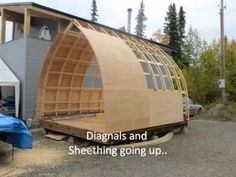 This video documents the process of building a x Arched Cabin. This particular Arched Cabin uses a skid pack for the foundation so it can be moved at. Cabin Plans, Shed Plans, House Plans, Bbq Shed, Arched Cabin, Camping Pod, Firewood Shed, Studio Shed, Run In Shed