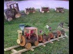 Resultado de imagen para trenes de maderas de tronco Outdoor Wood Projects, Garden Projects, Outdoor Landscaping, Outdoor Gardens, Preschool Garden, Decorated Flower Pots, Garden Deco, Wooden Planters, Outdoor Furniture Sets