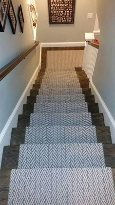 Removing carpet from stairs and replacing it with wood stair treads is totally doable. This DIY staircase makeover was accomplished in a weekend and looks like a professional job! Proof that a staircase remodel can be a DIY job. Basement Carpet, Basement Stairs, Carpet Stairs, Basement Bathroom, Basement Ideas, Staircase Carpet Runner, Carpet Runners For Stairs, Entryway Stairs, Hallway Carpet