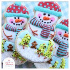 Snowman Cookies, Christmas Sugar Cookies, Cute Cookies, Christmas Baking, Sugar Cookie Royal Icing, Cookie Do, Snow Globe, Decorated Cookies, Christmas Snowman
