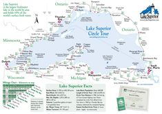 Lake Superior Magazine& Circle Tour map with summary distances and relative positions of cities along the route. Michigan Travel, Lake Michigan, Lake Superior Map, Superior Wisconsin, Bay Lake, Canoe Trip, Travel Maps, Rv Travel, Adventure Travel