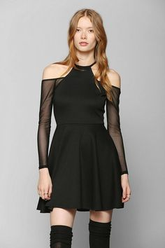 Oh My Love Mesh Cold Shoulder Skater Dress #urbanoutfitters