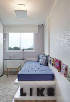 Quarto de Solteiro Planejado: 60 Ideias, Fotos e Projetos! Small Room Bedroom, Girls Bedroom, Bedroom Decor, Indie Room, Banquettes, Dream Rooms, Home Decor Furniture, Bedroom Furniture, New Room