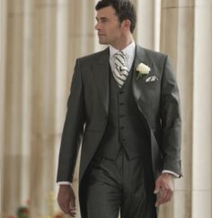Silk grey tailcoat suit with waistcoat.