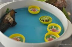 Creative use of bottle tops in imaginative play. Print out lilly pads and stick into the lid. Great sink and float activity. Caps can also be used for horse troughs and fairy chairs.
