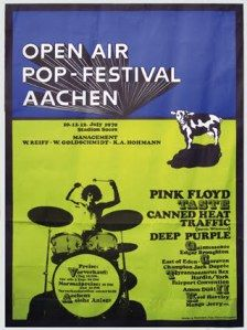 In Pink Floyd played in Aachen, West Germany, at the Open Air Pop Festival, alongside other bands such as Deep Purple, Traffic and Golden Earring. Rock Posters, Band Posters, Event Posters, Hippie Posters, Pink Floyd Poster, Pink Floyd Live, Vintage Concert Posters, Vintage Posters, Pops Concert