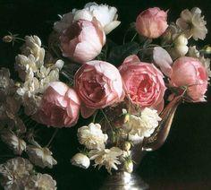 roses. white. pink.