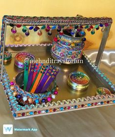 A mehndi and oil Rasam tray Wedding Gift Wrapping, Wedding Gifts, Mehndi Function, Fairy Lights Wedding, Wraps, Mom, Ideas, Decor, Wedding Day Gifts