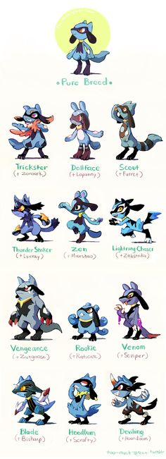Pokemon Crossbreeds : Lucario (by too-much-green on tumblr)