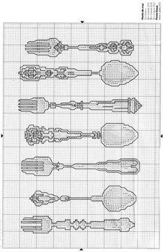 ♥♥Silverware set cross stitch. THREE