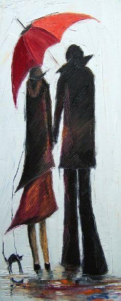 Justyna Kopania | Polish Knife painter | Tutt'Art@ | Pittura * Scultura * Poesia * Musica |; red umbrella