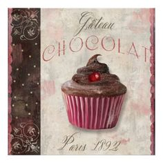cupcake poster    Gateau Chocolate, Vintage French Bakery Cupcake Poster from Zazzle.com