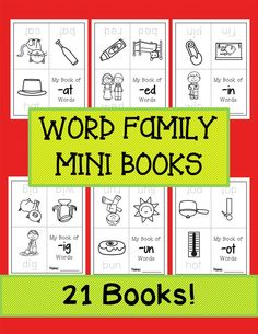 21 Word Family Books. Students trace the words and color the pictures.