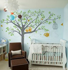 Nursery Tree Wall Decals Owls Wall Stickers Baby Wall Decal - Nursery Tree with Cute Owls B - Free Squeegee and color change - Playroom Arts...
