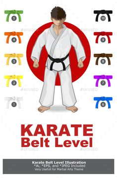 Buy Karate Martial Arts Belt Rank System by branca_escova on GraphicRiver. KARATE Martial Art Belt Rank System Main File is Vector Ai. Easy to Use and Custom. Karate Kyokushin, Kenpo Karate, Dojo, Taekwondo, Karate Moves, Martial Arts Belts, Martial Arts Techniques, Star Wars Facts, Martial Arts Workout