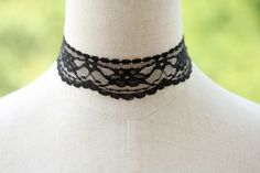 """Victorian Gothic  Black  LACE  2CM  flower  Necklace  Choker  Vampire Queen  Party - adjustable length 12.6"""" - 15""""(NL002). $0.20, via Etsy."""