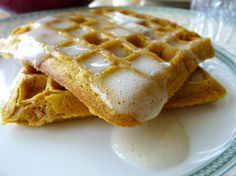 The MOST amazing Pumpkin Waffles with buttermilk syrup!!!!