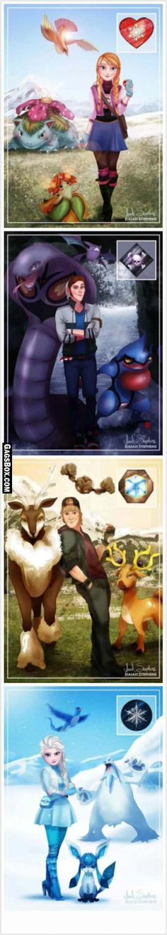 I think their spirit Pokémon are as followed (not the ones pictured above): Anna and Arcanine, Hans and Zoroark, Kristoff and Sawsbuck, and Elsa with Weavile. Why? Arcanine is loyal like Anna. Zoroark is a shape-shifter, much like how Hans changed through the plot. Sawsbuck changes and Kristoff did, too. Weavile is Dark-and-Ice type and Elsa was first seen as a dark enemy, not pure like ice.