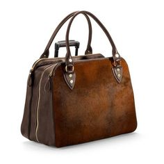Aspinal of London Buffalo Cabin Bag In Brown Calfskin With Brown... ($1,570) ❤ liked on Polyvore featuring bags, luggage and luggage & travel