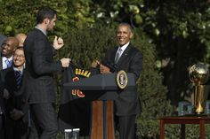 Cleveland Cavaliers at the White House Cleveland Cavaliers' forward Kevin Love presents President Barack Obama with the team jersey during a ceremony honoring the 2016 NBA Champion basketball team, Thursday, Nov. 10, 2016, the South Lawn of the White House in Washington.