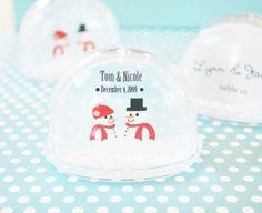 Winter Snow Globe Place Card Holder Wedding Favors at WeddingFavors.org