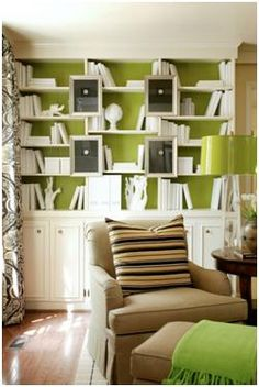 green and white bookcase... I love green!
