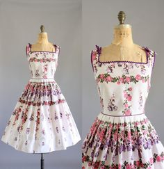 RESERVED Vintage 50s Dress/ 1950s Cotton by WhenDecadesCollide, $167.00