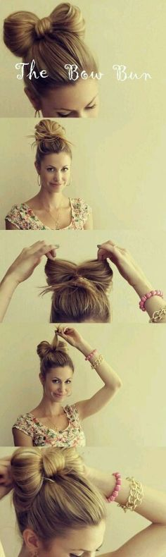 To get the first step, flip your head upside down and pull your hair into a ponytail that way. Secure messy stuff on the back with clips/bobby pins. Works great with curls and super cute!