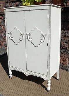 I love this for our little one because we could stencil an initial each placard to personalize it for her. Diy Furniture Decor, Homemade Furniture, Shabby Chic Furniture, Shabby Chic Decor, Rustic Furniture, Armoire Pantry, Armoire Dresser, Shabby Cottage, Cottage Chic