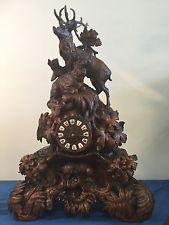 Exquisitely Carved Antique BlackForest Clock Case/Clock Stag, Ibex, Foxes Works
